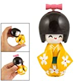 Rosallini White Flowers Yellow Kimono Smiling Girl Wooden Kokeshi