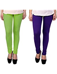 Snoogg Womens Ethnic Chic Inspired Churidar Leggings In Light Green And Purple