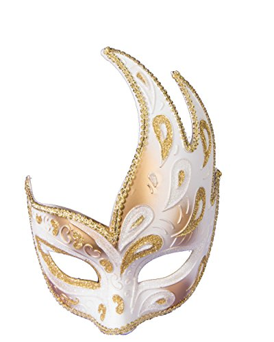 White and Gold Style Masquerade Women Half Mask