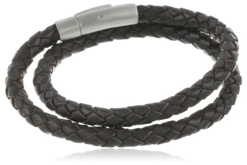 Men's Stainless Steel Brown Leather Braided Bracelet or Necklace, 17.5″
