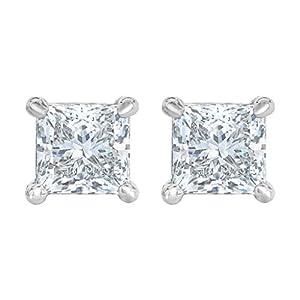 PARIKHS Near Colorless Princess cut Diamond stud Promo Quality in 14K White Gold (0.04 ctw) (Color-HIJ, Clarity-I3)