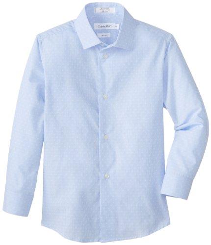 Calvin Klein Dress Up Little Boys' Crosshatch Woven Dress Shirt, Light Blue, 05 front-1049395