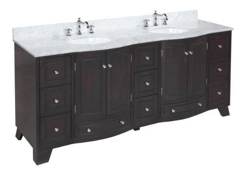 Palazzo 72-inch Bathroom Vanity (Carrera/Chocolate): Includes a Solid Wood Chocolate Cabinet, an Italian Carrera Marble Countertop, and two Ceramic Sinks