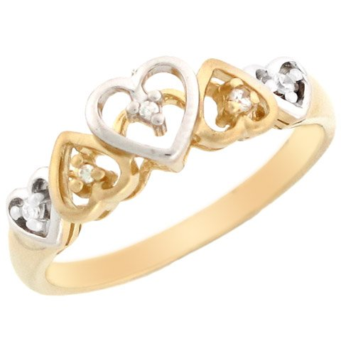 14k Two-tone Gold Patterned Hearts Design Diamond Promise Ring