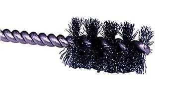 "Weiler 0.005"" Wire Size, 5/16"" Diameter, 3-1/2"" Length, Steel Bristles, Stainless Steel Stem, Round Power Tube Brush"