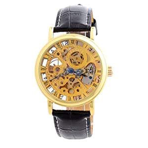 YESURPRISE Fashion Lusery Men Mechanical Hand Wind Wrist Watch Leather