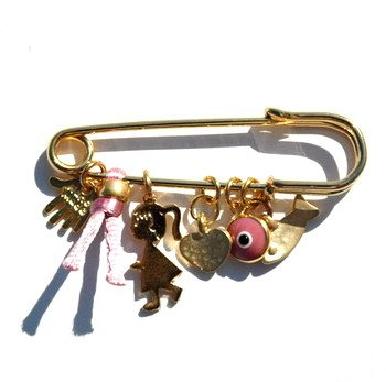 Golden Baby Girl Pin With Multiple Protection Charms In Pink front-853625
