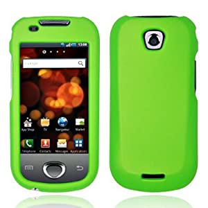 Neon Green Rubber Feel Snap-On Cover Hard Case Cell Phone Protector for Samsung Galaxy Apollo i5800 (Galaxy 3)