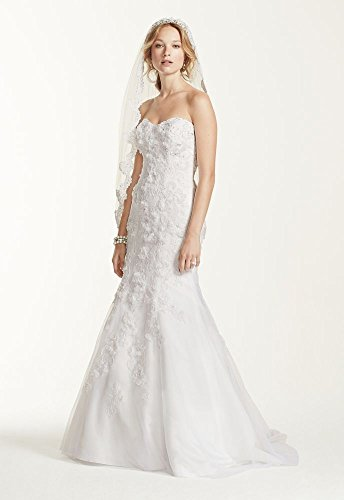 Lace Jewel Tulle Over Satin Wedding Dress with Soutache Style WG3732, Ivory, 8