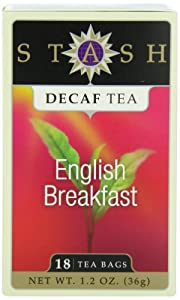 Stash Tea Decaf English Breakfast Tea, 18 Count Tea Bags in Foil (Pack of 6)