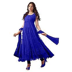 Blue Brasso Net Semi Stitched Anarkali Suit