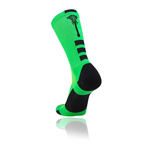 Midline Lacrosse Logo Crew Socks (Lime/Black, Small)