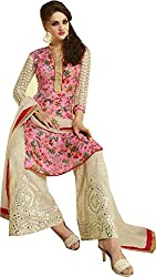 Adorn Mania Pink Bhaglapuri Embroidered salwar Suits Dress Material