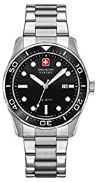 Swiss Military Aqualiner Men's Quartz Watch with Black Dial Analogue Display and Silver Stainless Steel Bracelet 6-5213.04.007