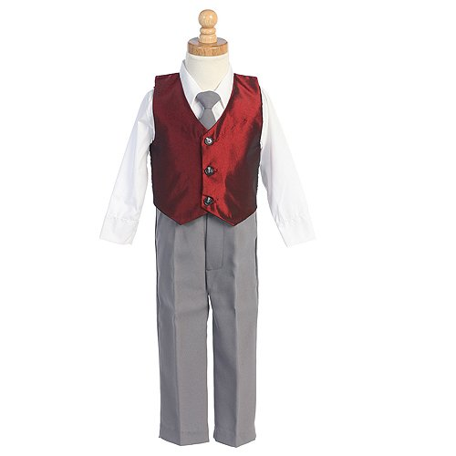 Little Boys Burgundy Vest Special Occasion Holiday 3pc Suit Set 6M-7