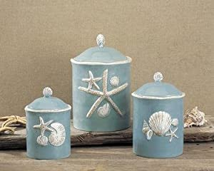 themed kitchen canisters amazon com blue kitchen canister set beach ocean blue