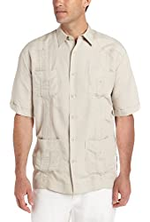 Cubavera Men's Big-Tall Short Sleeve Embroidered Ramie
