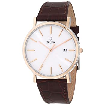 This dress watch from Bulova offers the beauty of rose-gold tones and the simplicity of a large dial with eye-pleasing touches. The Bulova Men's Strap Calendar Watch boasts a croco-embossed leather strap that joins to a circular, polished stainless s...
