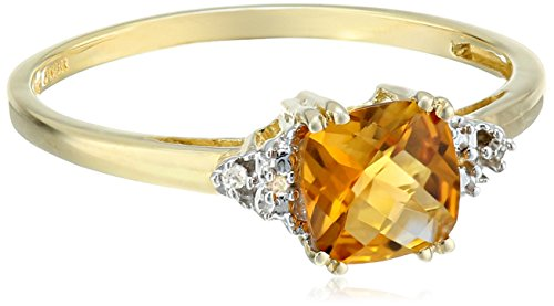 10k Yellow Gold, November BirthStone, Citrine and Diamond Ring, Size 8