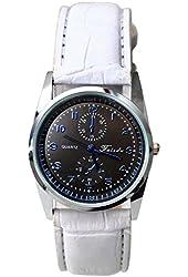 Women's Dual Dial Street Style Leather Watch Girl's Quartz Wrap Around Leather Bracelet Wrist Watch