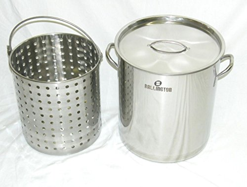 Ballington 42-Quart Stainless Steel Stock Pot w Fry/Steamer/Boil Basket & Lid