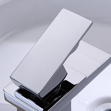 Modern Single Handle Waterfall Bathroom Sink Faucet (Chrome Finish) widespread bathroom sink waterfall faucet