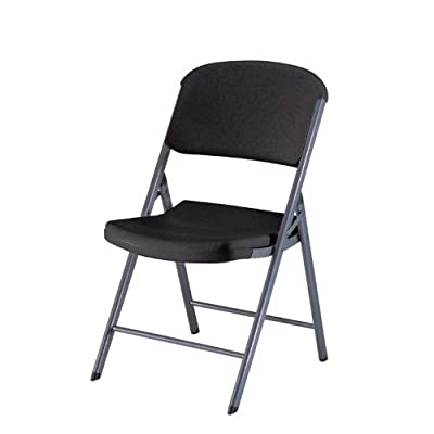 Lifetime 80187 Classic Commercial Folding Chair, Black with Gray Frame, 4-Pack