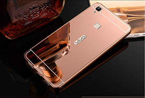 FING (TM) Luxury Metal Bumper + PC Mirror Back Cover Case Vivo V3 (Not for V3 Max) - Rose Gold