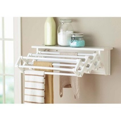 Better Homes and Gardens Wall-Mounted Drying Rack, White (Laundry Wall Drying Rack compare prices)