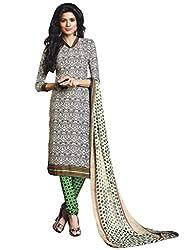 Off White & Black colour embroidered crepe fabric semi stich churidar dress material