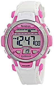 Armitron Sport Women's 45/7036WHT Pink Accented White Resin Strap Digital Chronograph Sport Watch
