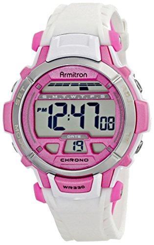 Armitron Sport Women's 45/7036WHT Pink Accented White Resin Strap Digital Chronograph Sport Watch