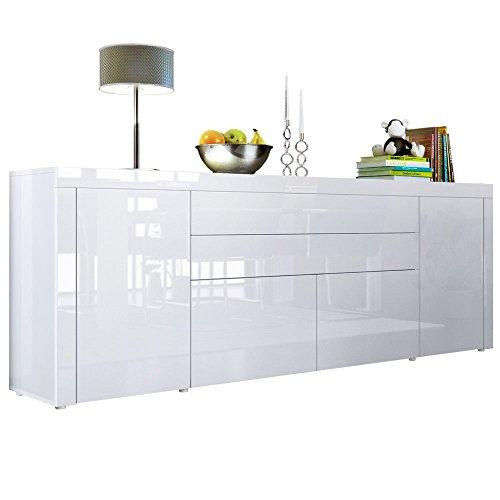 Sideboard-Kommode-La-Paz-V2-Korpus-in-Wei-Hochglanz-Front-in-Wei-Hochglanz-mit-Rahmen-in-Wei-Hochglanz