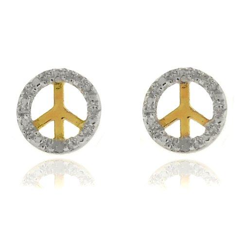18k Gold Overlay Diamond Accent Peace Symbol Stud Earrings