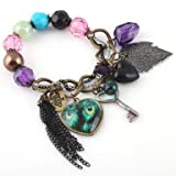 TOOGOO Fashion Lady Cute Nice Charm Lovely Heart Peacock Leaf Key Bangle Bracelet Chain