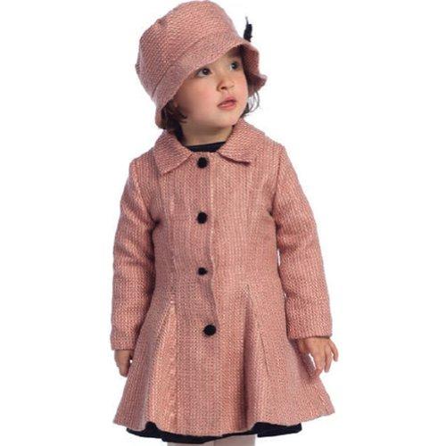 Angels Garment Toddler Girls Pink Tweed Vintage Coat Hat Set 4T