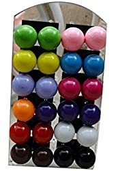 Surker 12Pairs 12mm Fashion Elegant Candy Bubble Color Round Lovely Resin Ball Stud Earrings