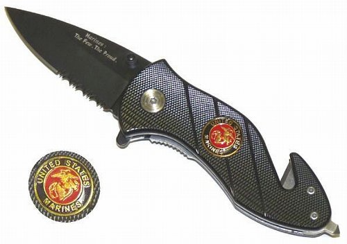 """2.5"""" """"United States Marines"""" Spring Assisted Mini Tactical Rescue Knife"""
