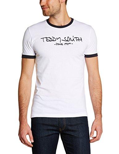 Teddy Smith - Maglietta Ticlass, Manica corta, Uomo, bianco (Blanc (Blanc Seri/Dark Navy)), L