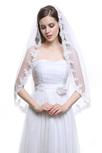 MISSYDRESS 1 Tier Ivory and White Fingertip Tulle Bridal Wedding Veil Applique Edge with Comb-V33-White