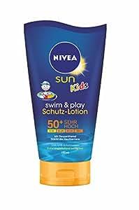 NIVEA Sun Kids Swim & Play Schutz-Lotion, Sonnenschutz LSF 50+, 1er Pack (1 x 150 ml)