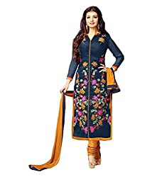 Blue Colour New Embroidery Cotton Salwar Suit