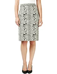 Jacquard Faux Snakeskin Print Knee Length Pencil Skirt