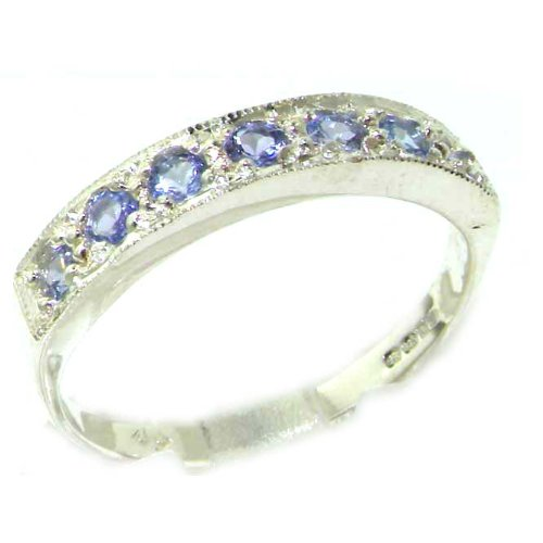 Solid English Sterling Silver Ladies Natural Tanzanite Eternity Band Ring - Size 12 - Finger Sizes 5 to 12 Available - Suitable as an Anniversary ring, Engagement ring, Eternity ring, or Promise ring