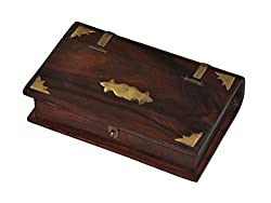 Marubhumi Mother's Day Gift Handmade Jewellery Wooden Box with Brass Inlay Work