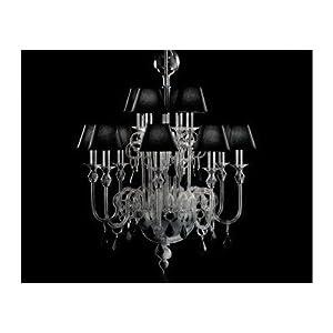 Bugia Chandelier Size: 90 cm H x 72 cm Dia, Shade / Dropper Colour: Black Glass with Black Shade *Best Deal