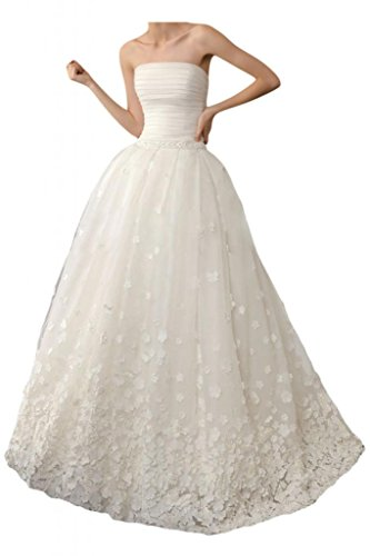 MiLano Bride 2015 New Princess Ivory Wedding Dresses Strapless Ball Gown Lace