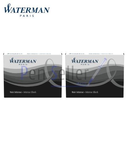 Waterman - 2 Etuis de 8 Cartouches UGC Longues Encre Noir Intense, non Effaçables.