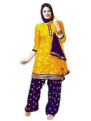 Salwar Studio Yellow & Violet Dress Material with Dupatta RP-1006