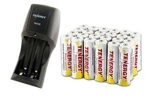 Combo: Tenergy TN153 2-Bay Standard Battery Charger + 24 AA 1000mAh NiCD Batteries for Solar power, Solar Light Malibu etc